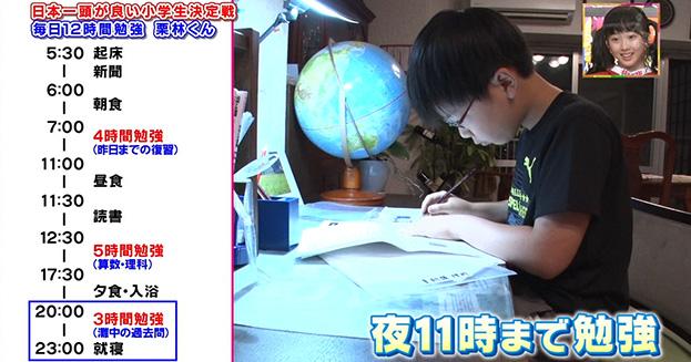 栗林武希くんの1日の勉強スケジュール